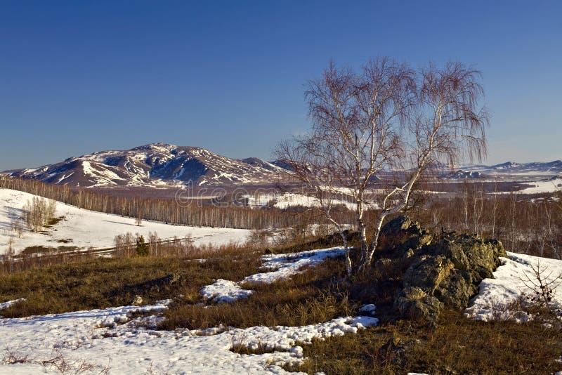 Última neve em montanhas de Ural sul foto de stock