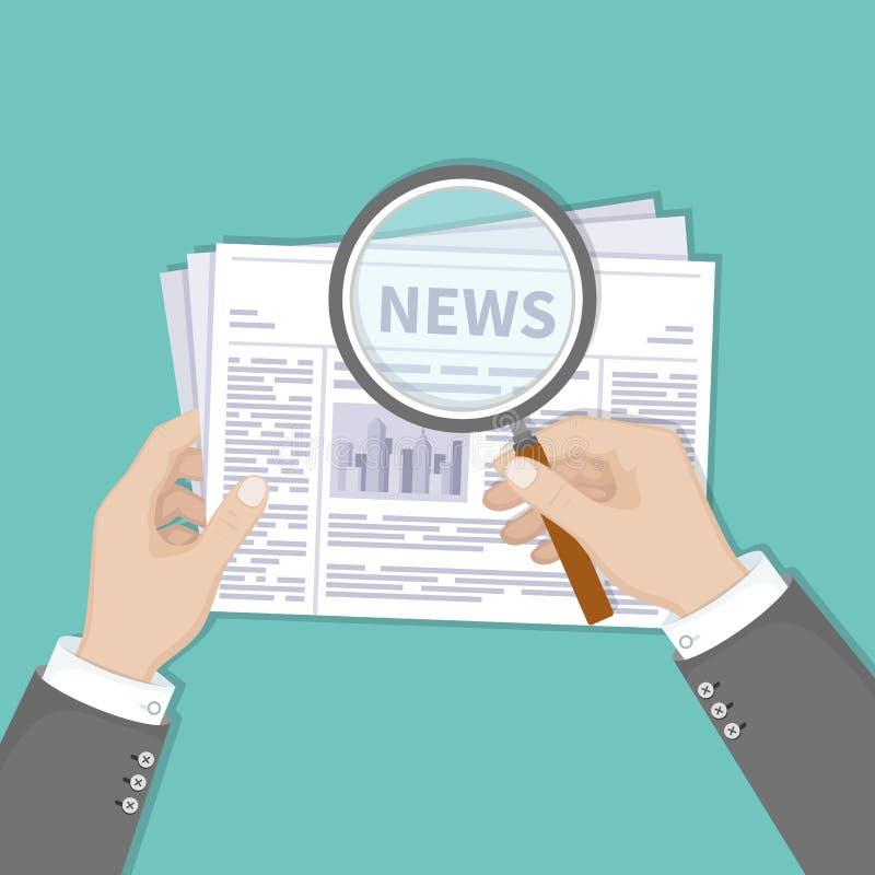 Últimas noticias calientes El hombre de negocios da sostener la lupa sobre un periódico con títulos y la foto Visión superior ilustración del vector