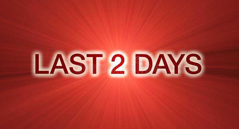 Último bandera de la venta de 2 días en rojo ilustración del vector