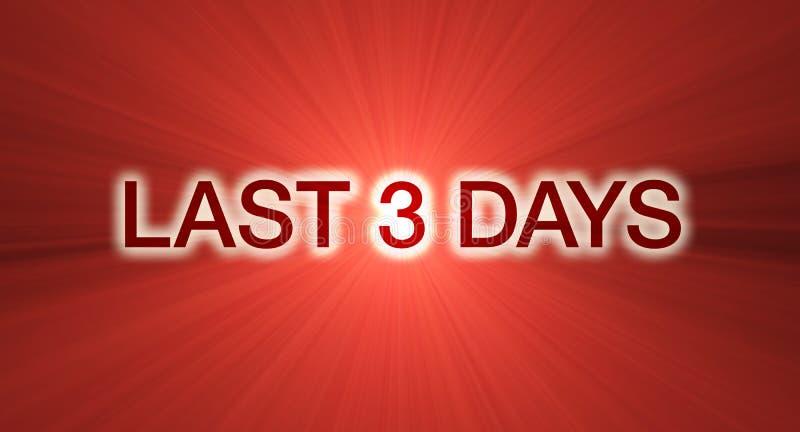 Último bandera de la venta de 3 días en rojo ilustración del vector