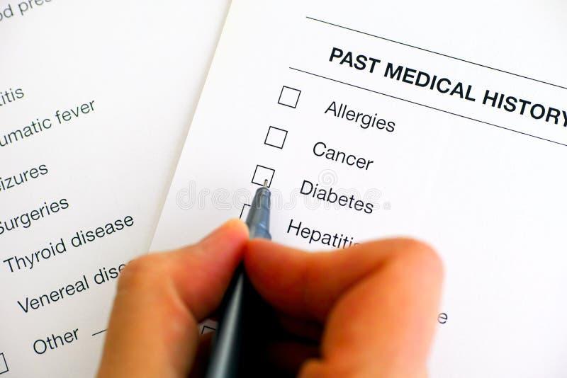historial médico de diabetes