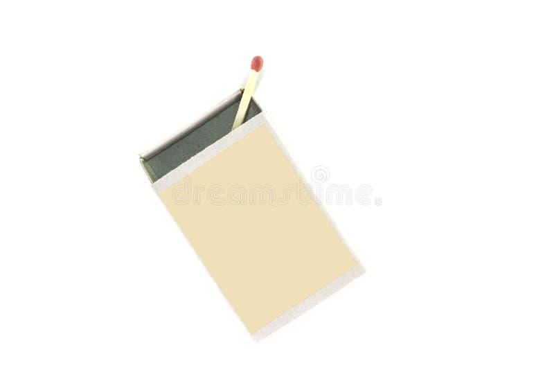 Último fósforo na caixa isolada no fundo branco imagens de stock
