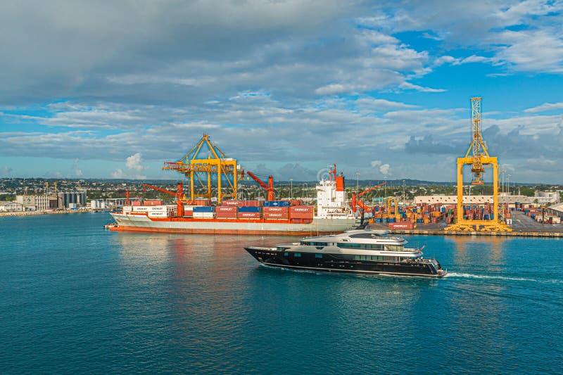 Último puerto de envío de Bridgetown del yate fotos de archivo libres de regalías