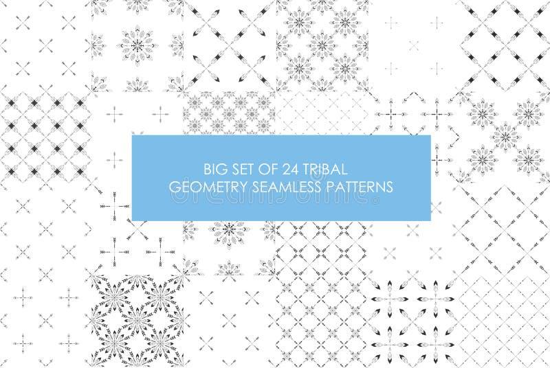 Último sistema rentable de 24 modelos inconsútiles del minimalismo tribal stock de ilustración