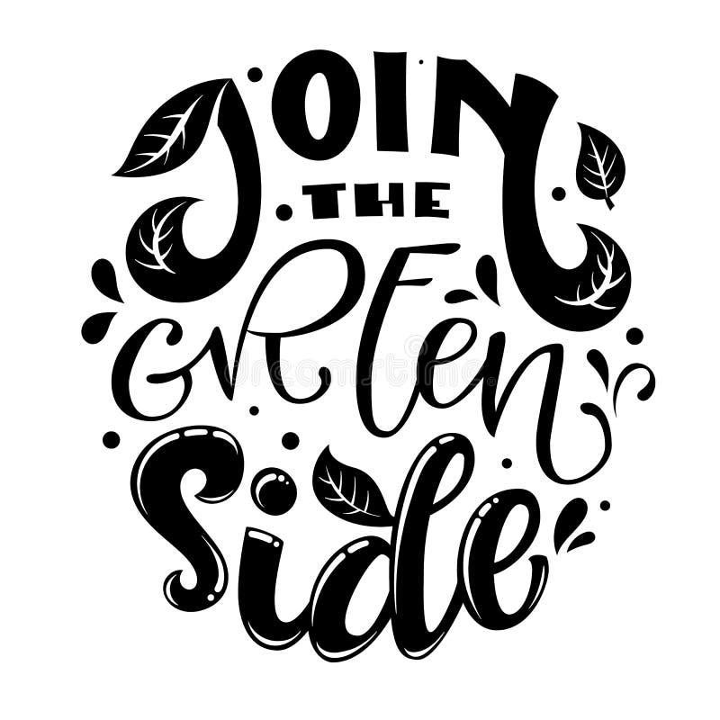 Únase al lema lateral verde del texto Drenaje amistoso de la mano de Eco que pone letras a frase monocromática ilustración del vector