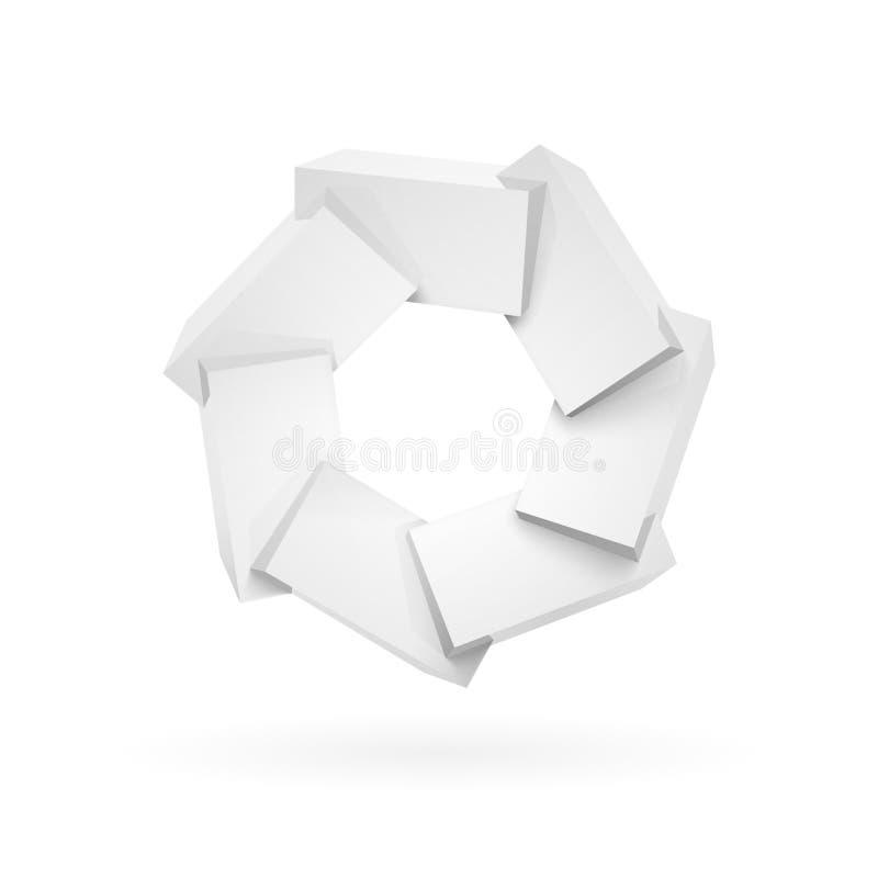 Únase a los cubos plásticos brillantes brillantes blancos stock de ilustración