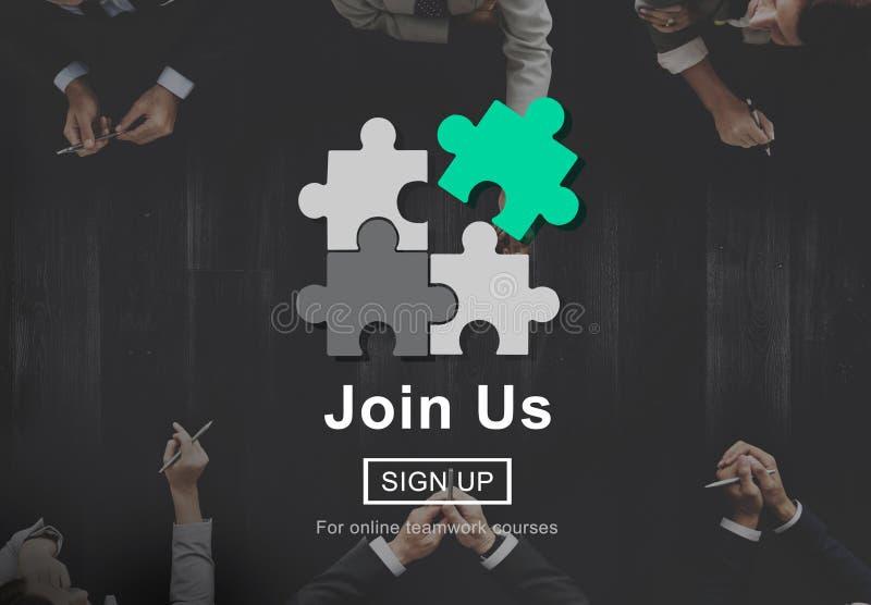 Únase a nos aplican a la compañía que el alquiler se une a concepto del reclutamiento fotos de archivo