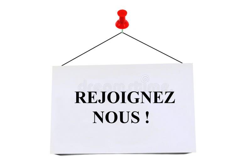 Únase a nos escritos en francés fotos de archivo libres de regalías