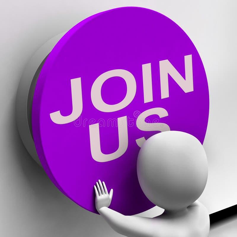 Únase a nos voluntario del registro de los medios del botón o firme para arriba stock de ilustración