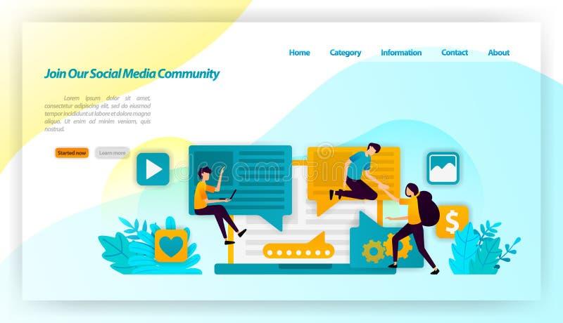 Únase a nuestra comunidad social de los medios la gente influencia e invita a los seguidores que compartan y comuniquen concepto  ilustración del vector