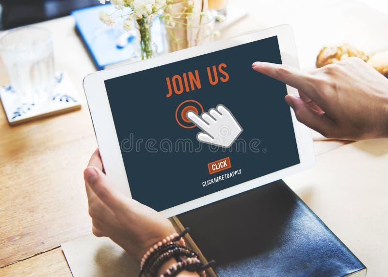 Únase a que nos el uso del reclutamiento sigue concepto en línea del sitio web foto de archivo libre de regalías