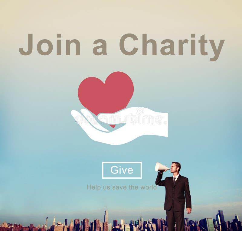 Únase a un concepto del amor del cuidado de la invitación de la ayuda de la caridad foto de archivo