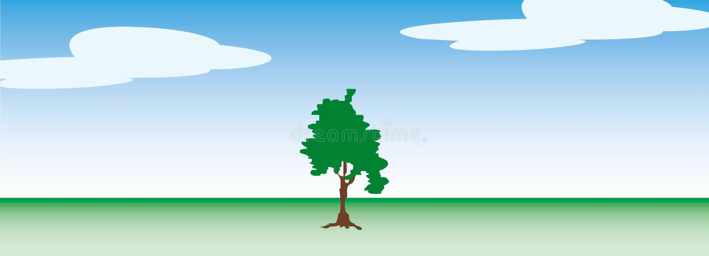 Única árvore com o fundo do céu azul ilustração royalty free
