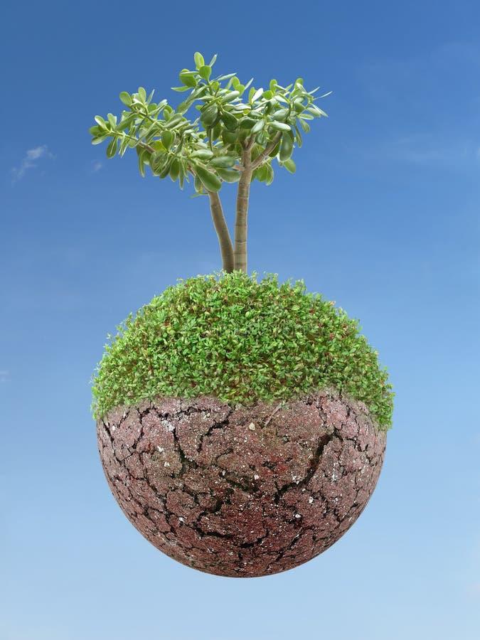 Planeta e árvore verdes fotografia de stock royalty free