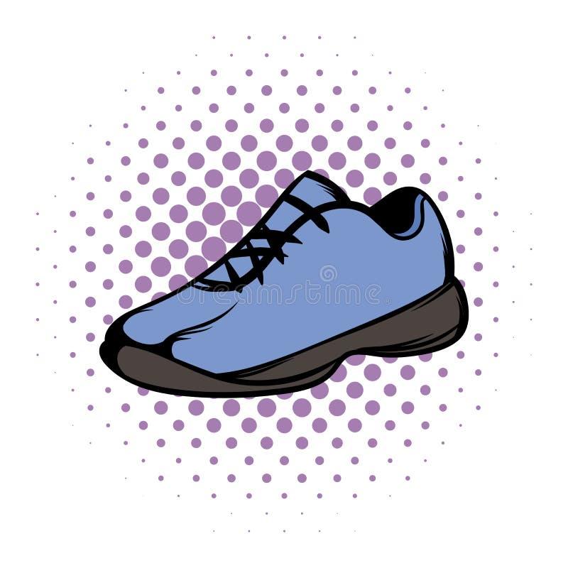 Única banda desenhada azul dos tênis de corrida ilustração royalty free
