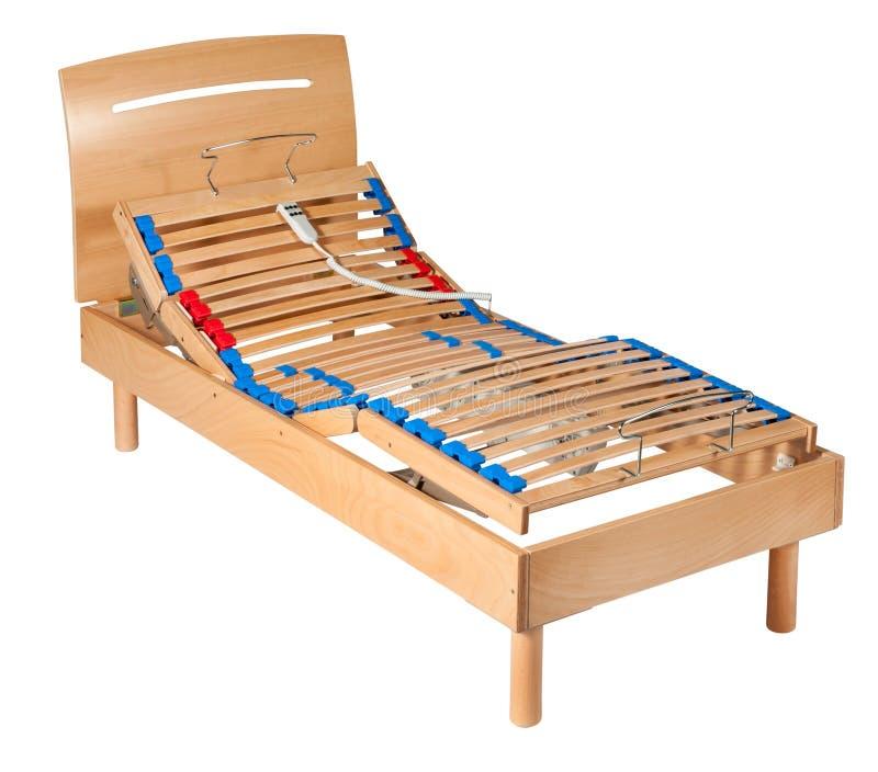 Única cama líquida ortopédica elétrica de madeira imagem de stock royalty free