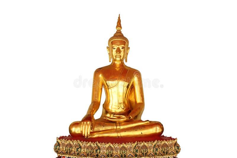 Única estátua de buddha da meditação isolada no fundo branco imagens de stock