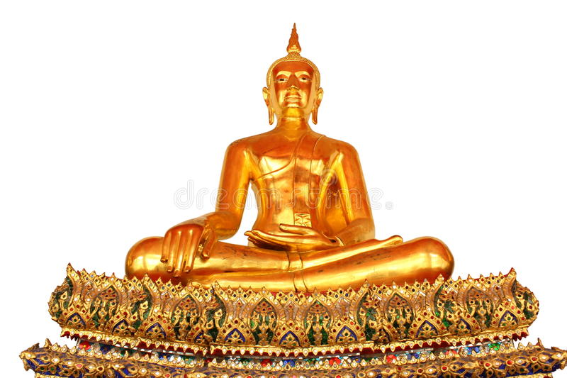 Única estátua de buddha da meditação isolada no fundo branco foto de stock royalty free