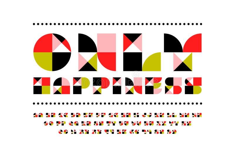 Única fonte festiva da felicidade no estilo moderno Alfabeto bonito do mosaico com projeto geométrico contemporâneo ilustração stock