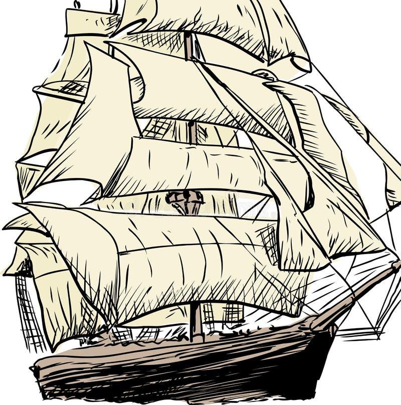 Única garatuja esboçada do navio de tosquiadeira ilustração do vetor