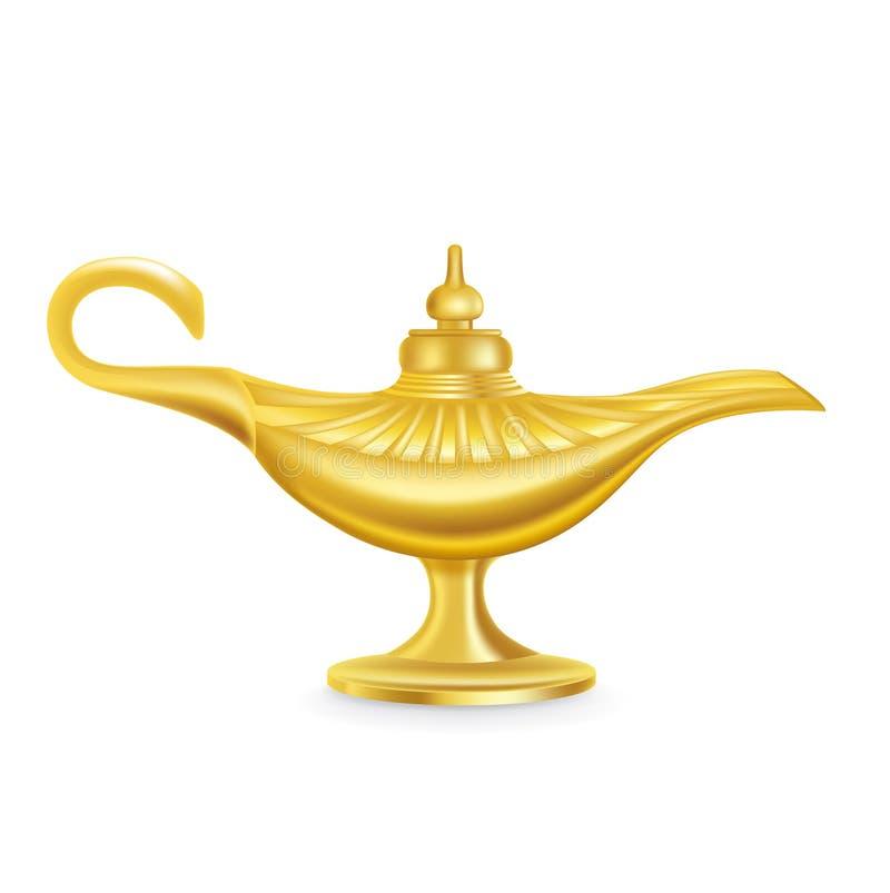 Única lâmpada mágica isolada no branco ilustração do vetor