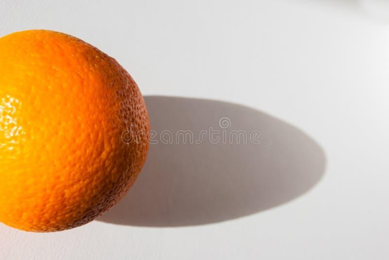 Única laranja com sombra longa imagem de stock royalty free