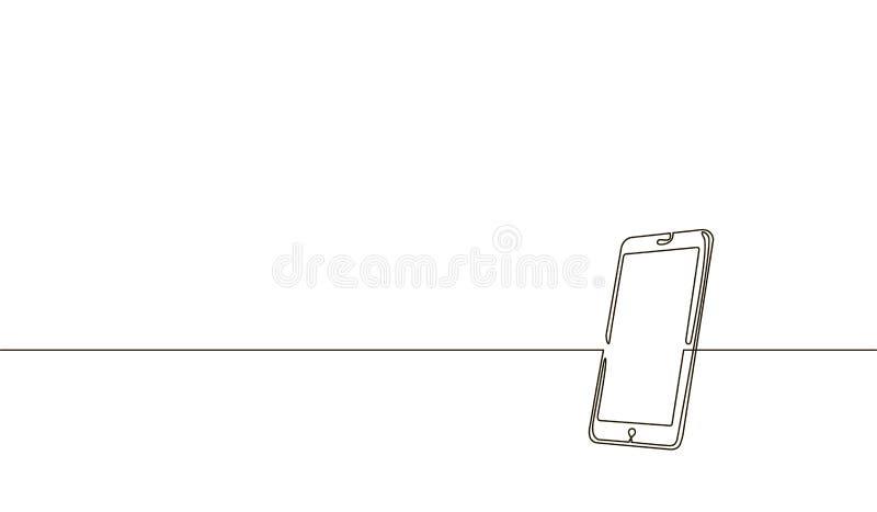 Única linha contínua smartphone da arte Esboço moderno do esboço do projeto um da tecnologia do dispositivo do tela táctil do tel ilustração royalty free