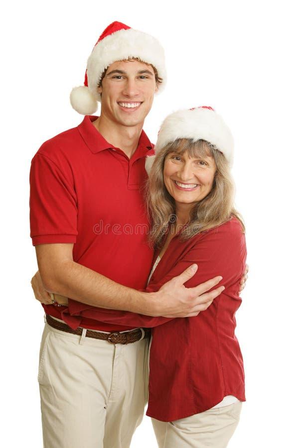 Única mamã orgulhosa no Natal foto de stock