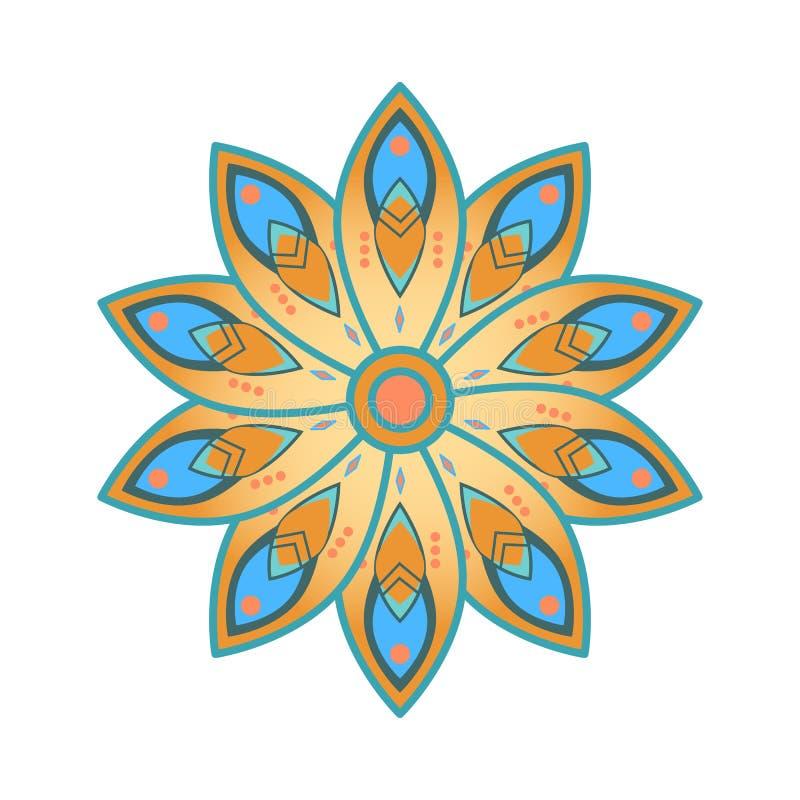 Única mandala do vermelho azul e da laranja ilustração do vetor