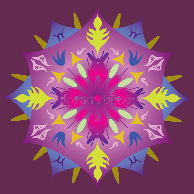 Única mandala - a folha abstrata Stars cores do arco-íris ilustração royalty free