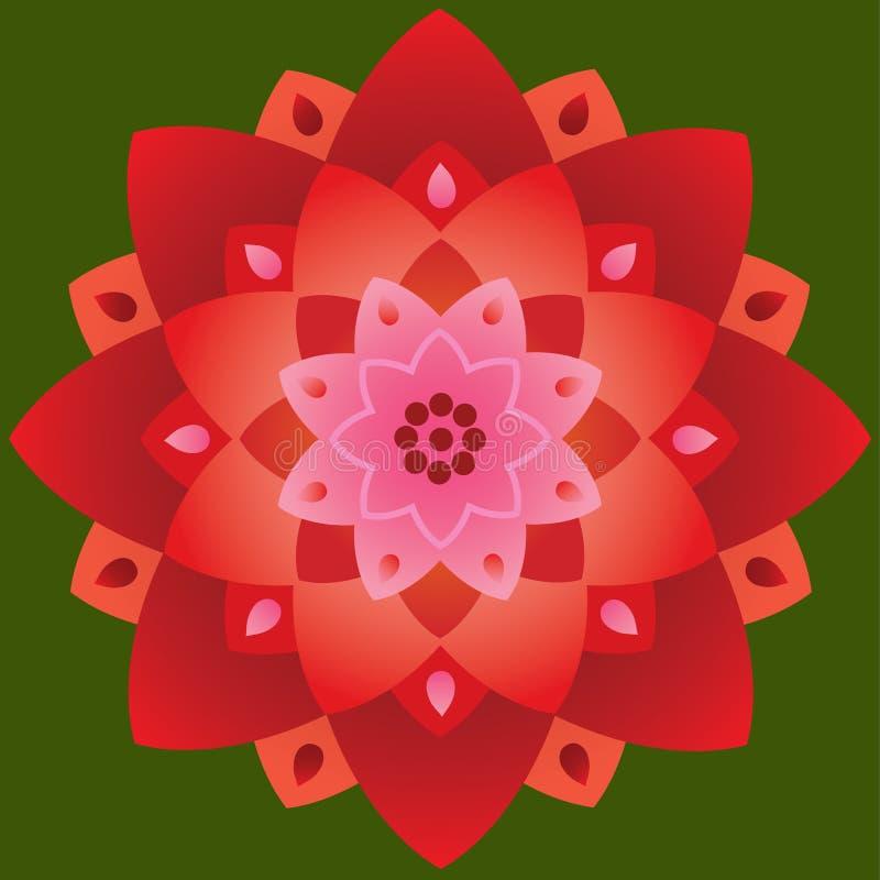 Única mandala - Lotus Shape Red e cores cor-de-rosa ilustração do vetor