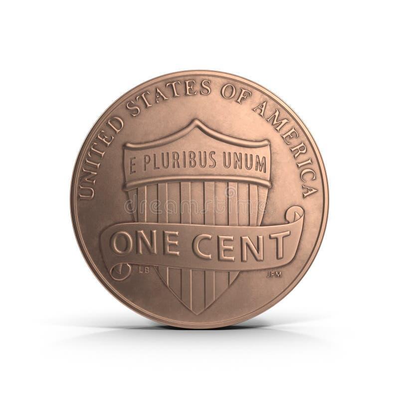 Única moeda de um centavo no branco ilustração 3D ilustração stock