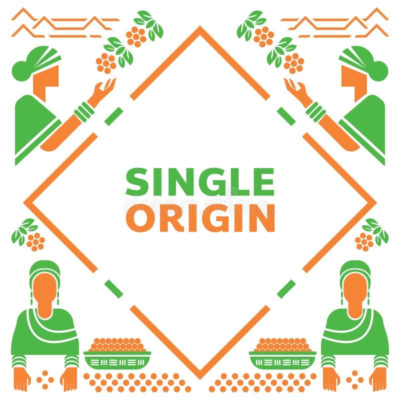 Única origem Etiópia com fazendeiro local ilustração royalty free