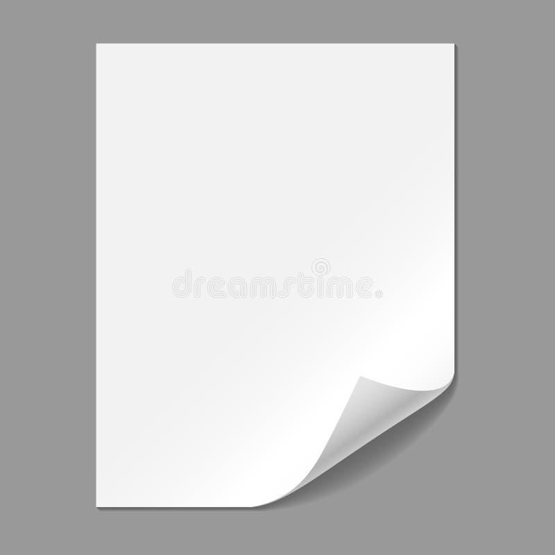 Única página de papel com canto de dobramento ilustração stock