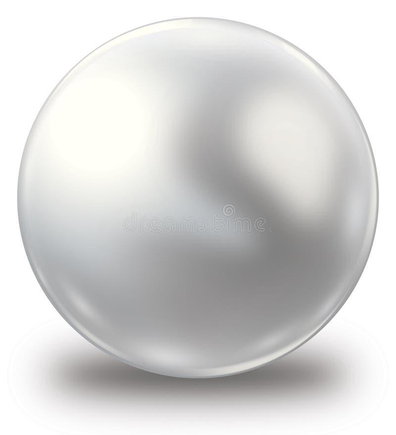 Única pérola branca brilhante isolada ilustração do vetor