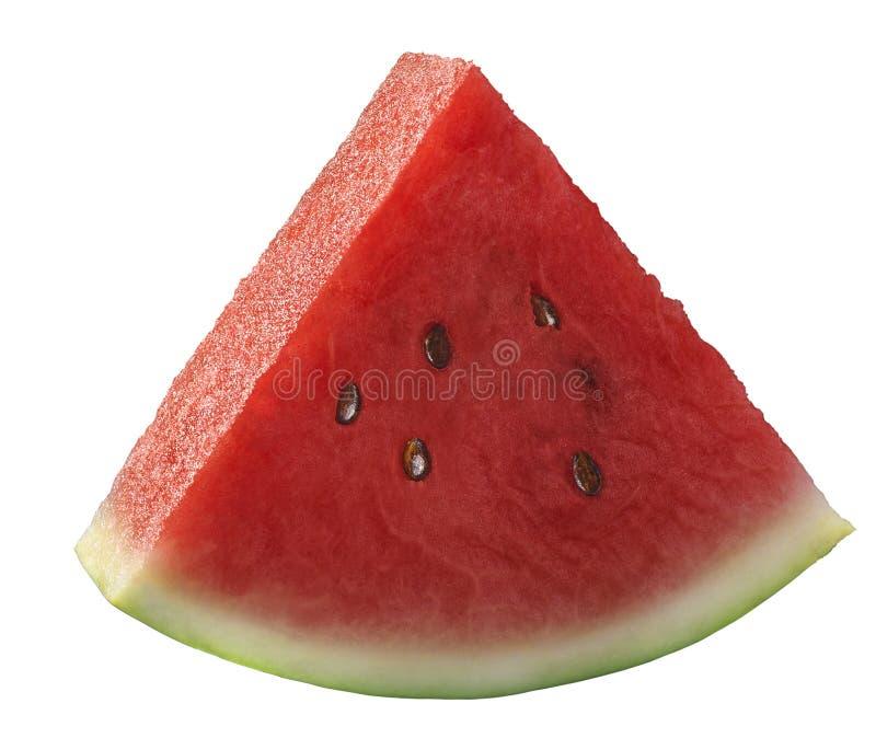 Única parte da melancia isolada no branco imagens de stock