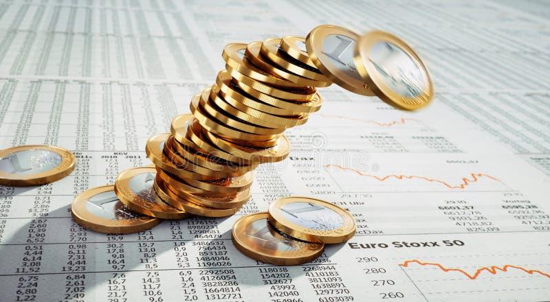 Única pilha de moedas do Euro ilustração stock