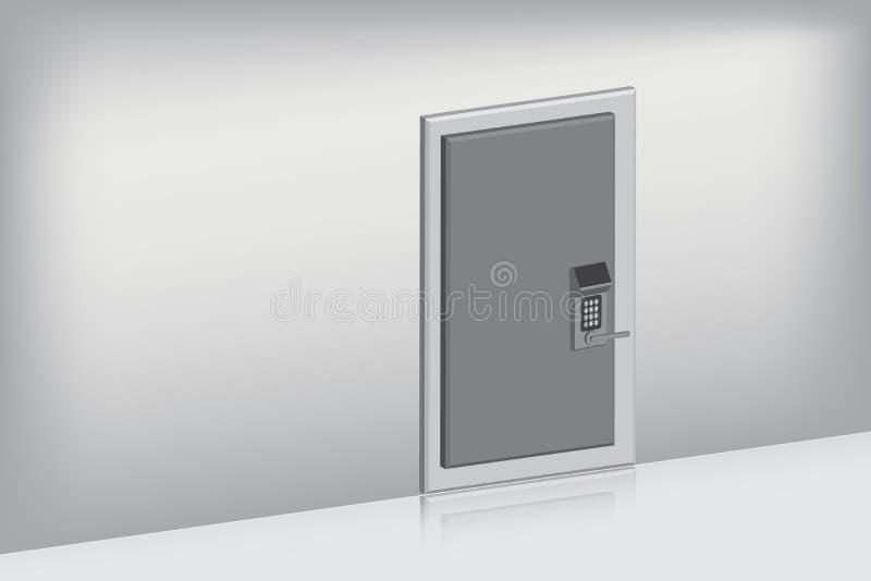 Única porta com conjunto completo na vista oblíqua , Conceito interno, ilustração do vetor