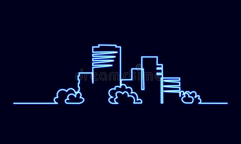 Única uma linha contínua construção civil do sinal de néon da cidade da arte Arquitetura da cidade urbana do apartamento da casa  ilustração stock