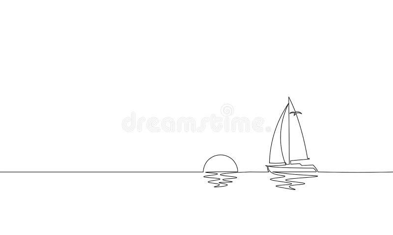 Única uma linha contínua férias ensolaradas do curso do oceano da arte Luxo tropical do iate do navio da ilha do feriado do nasce ilustração do vetor