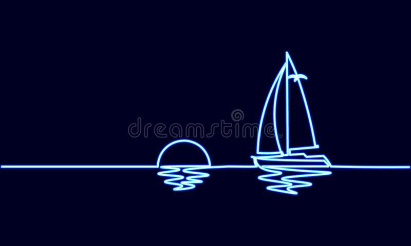 Única uma linha contínua férias ensolaradas do sinal de néon do curso do oceano da arte Por do sol luxuoso da viagem do iate do n ilustração do vetor