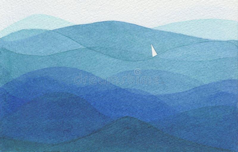 Única vela em um oceano grande ilustração royalty free