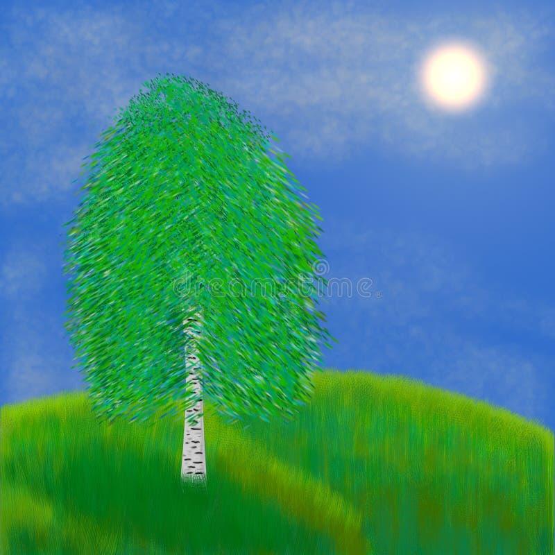 Única vidoeiro-árvore no prado ilustração do vetor