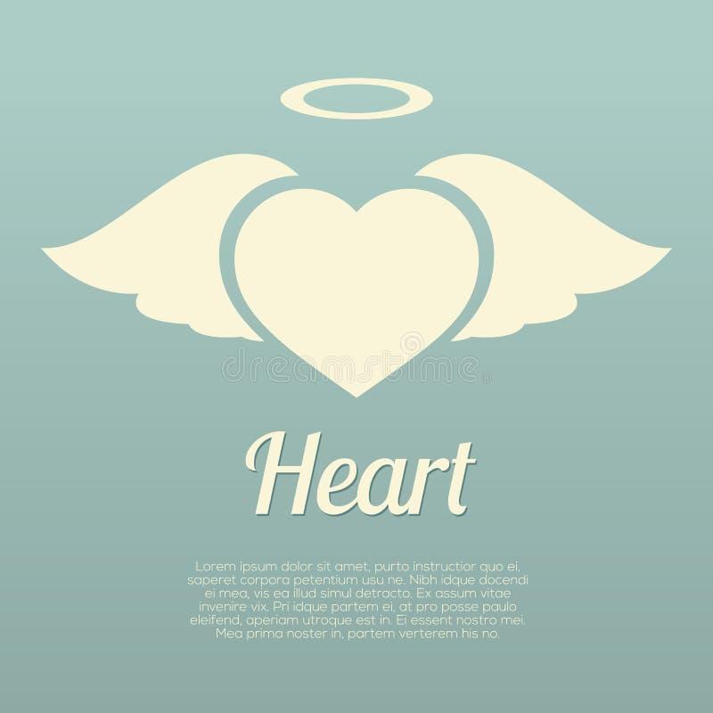 Únicas asas do coração com símbolo do halo ilustração do vetor