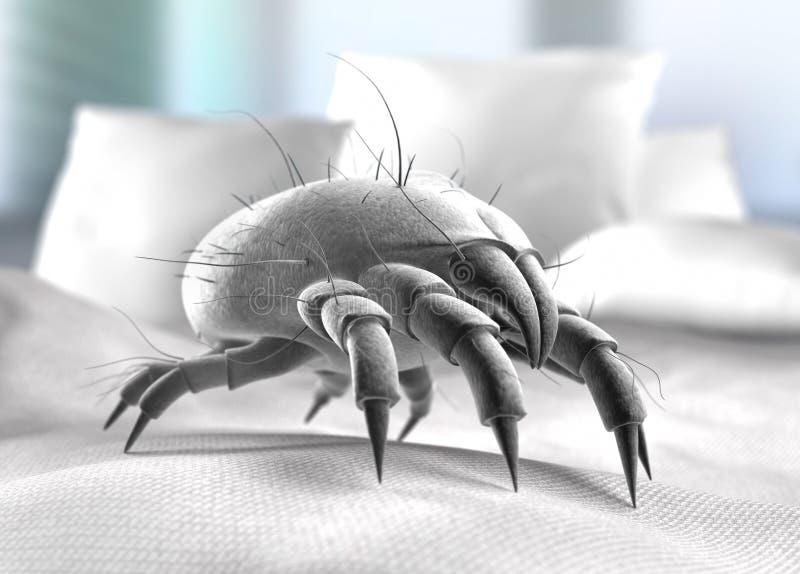 Único ácaro da poeira em uma superfície da cama ilustração do vetor
