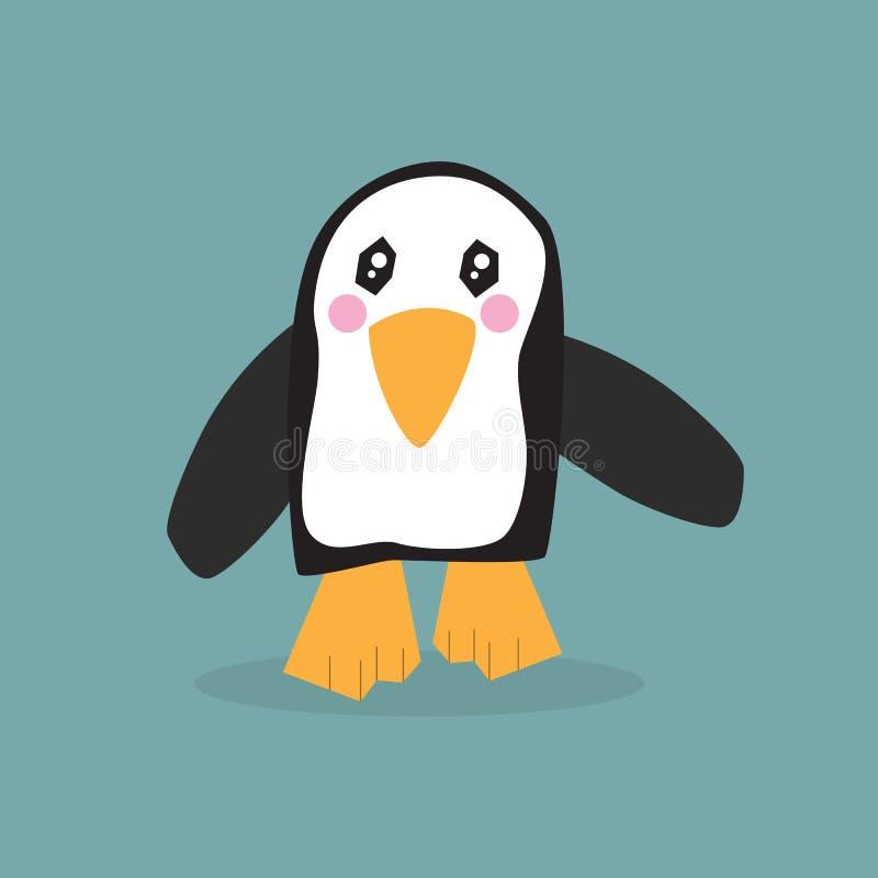 Único ícone de passeio pequeno bonito do pinguim com olhos do kawaii, os mordentes cor-de-rosa e uma sombra ilustração royalty free