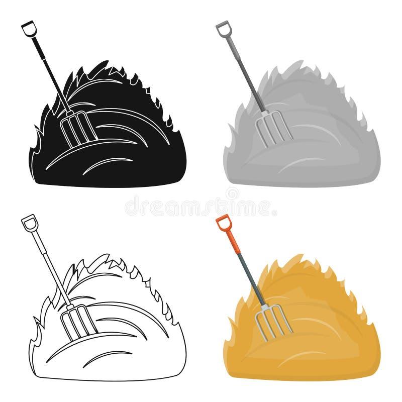 Único ícone do feno no estilo dos desenhos animados Web da ilustração do estoque do símbolo do vetor do feno ilustração royalty free
