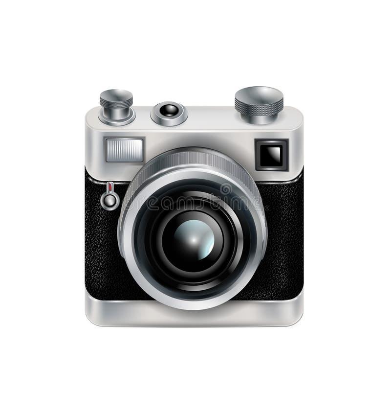 Único ícone retro da câmera isolado ilustração stock