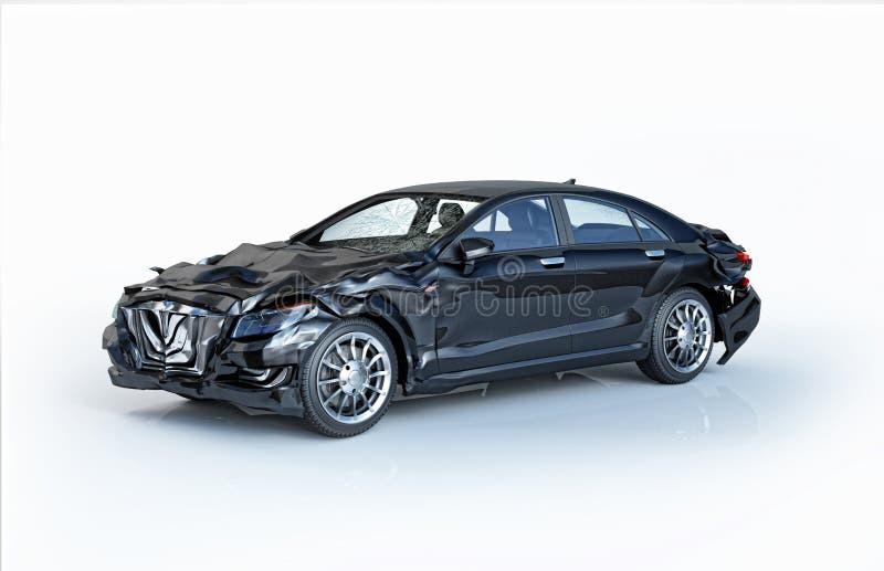 Único acidente de trânsito Sedan luxuoso preto danificado na parte dianteira e na parte traseira ilustração do vetor