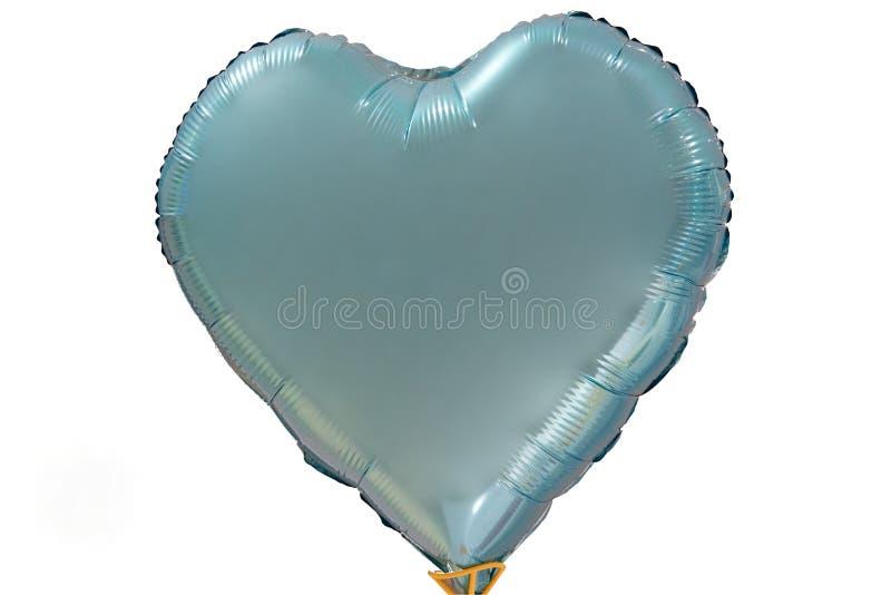 Único balão azul grande do coração isolado em um fundo branco imagens de stock royalty free